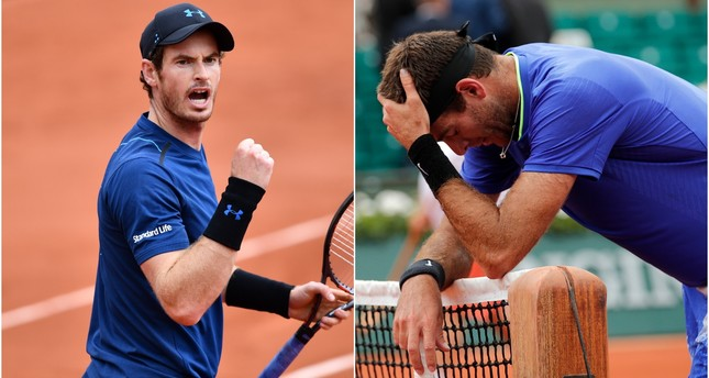 Top seed Andy Murray (L) eased into the last-16 of the French Open 7-6(8) 7-5 6-0 on Saturday, over a flagging Juan Martin Del Potro