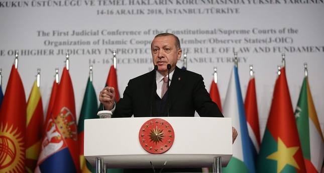 Recep Tayyip Erdoğan addresses members of the Organisation of Islamic Cooperation (OIC) at a conference in Istanbul, Dec. 14.