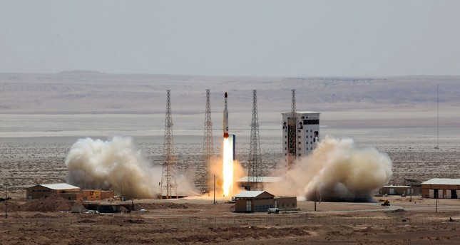 This file photo taken on July 26, 2017 shows a handout picture released by Iran's Defense Ministry shows a Simorgh (Phoenix) satellite rocket at its launch site at an undisclosed location in Iran. (AFP Photo)