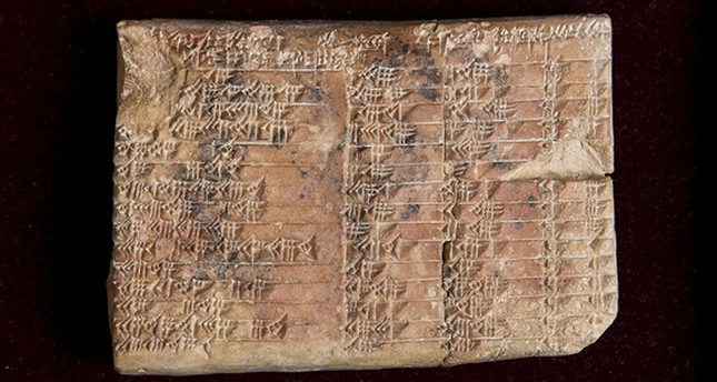 An undated handout photo made available by The Australian University of New South Wales (UNSW) showing the Plimpton 322 a 3700 year old Babylonian tablet held in the Rare Book and Manuscript Library at Columbia University in New York. (EPA Photo)