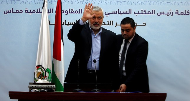 Hamas Chief Ismail Haniyeh waves as he delivers a speech in Gaza City January 23, 2018. (REUTERS Photo)