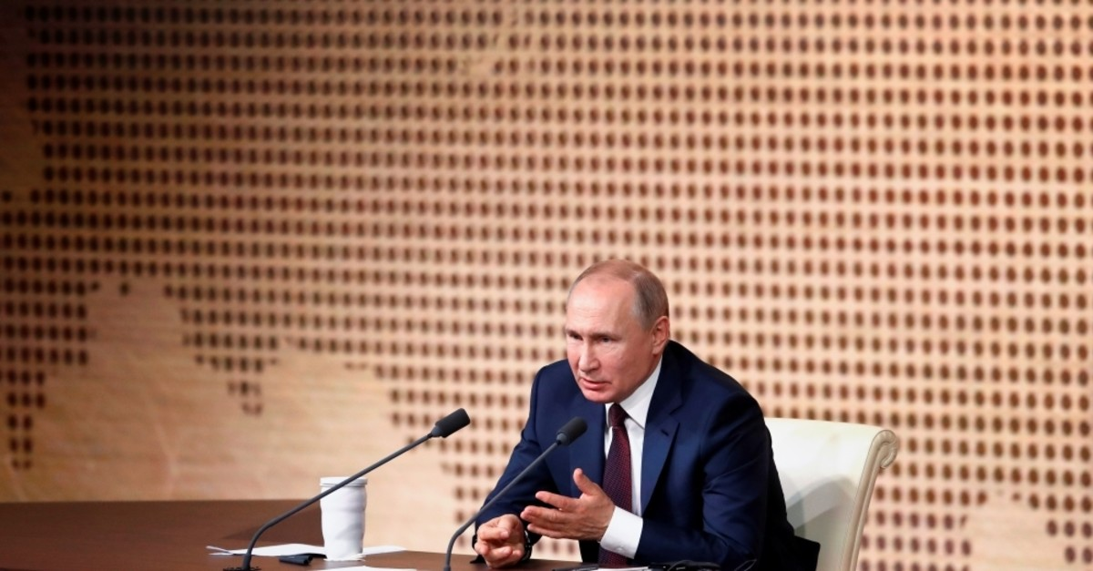 Russian President Vladimir Putin speaks during his annual end-of-year news conference in Moscow, Russia, Dec. 19, 2019. (Reuters Photo)