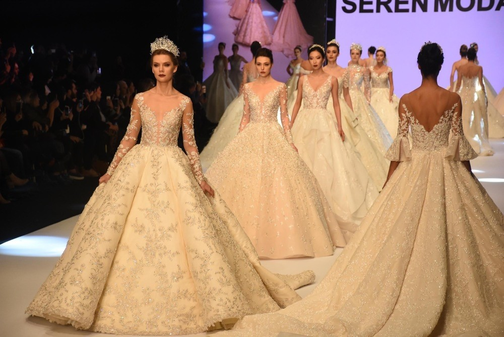 Models wear wedding dresses made by Turkish designers during a fashion show organized within the scope of IF Wedding Fashion u0130zmir, Jan. 23, 2019.