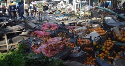 مقتل 4 مدنيين في هجوم ي ب ك/ بي كا كا الإرهابي على سوق بعفرين