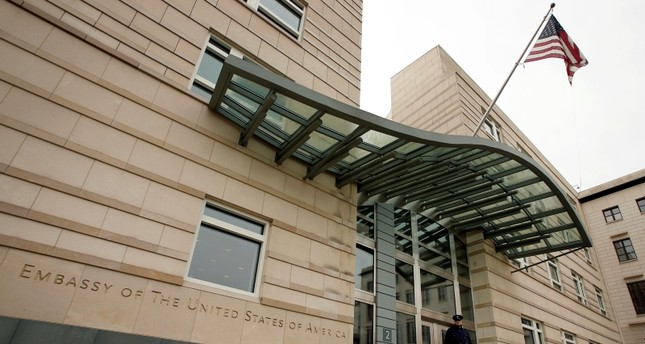 In this Oct. 25, 2013 file photo the US flag flies at the main entrance of the US embassy in Berlin. (AP Photo)