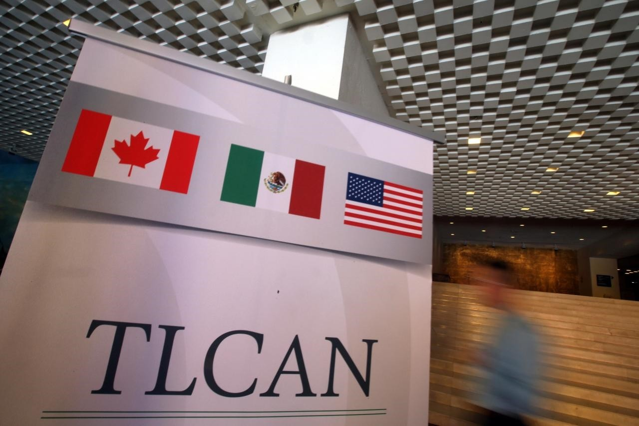A NAFTA banner is seen during the fifth round of NAFTA talks involving the United States, Mexico and Canada, in Mexico City, Mexico, November 18, 2017. (Reuters Photo)