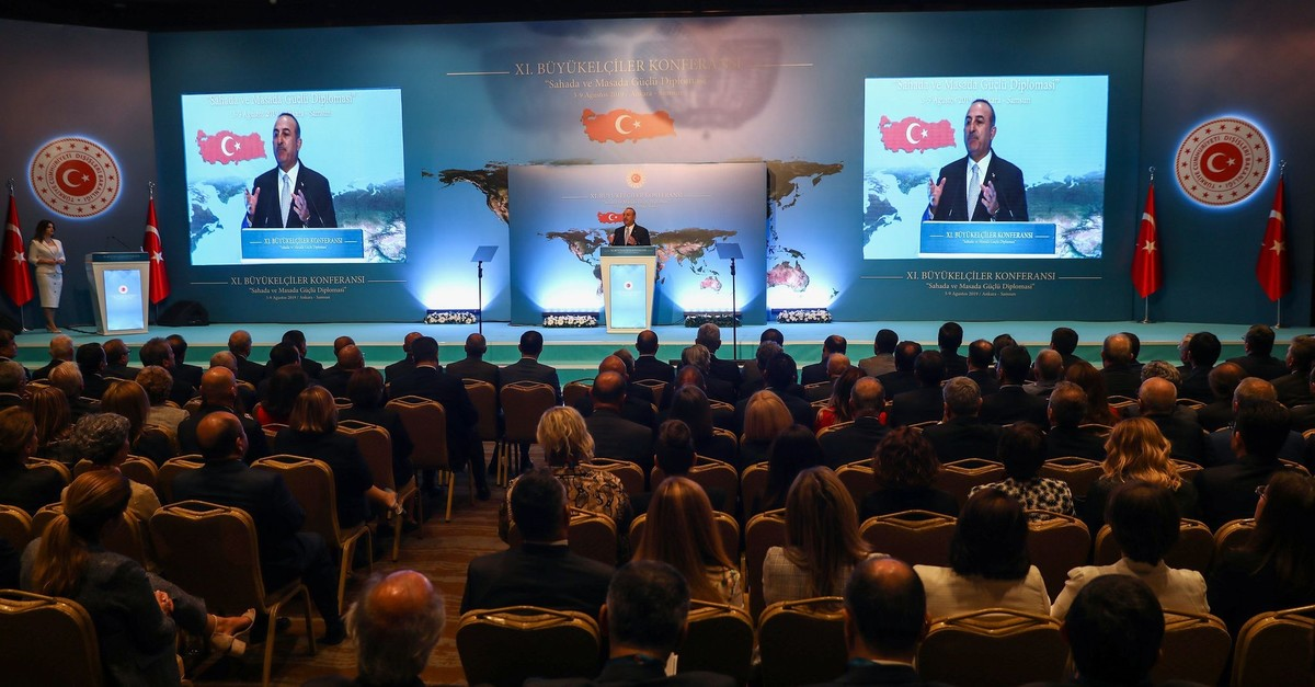 Foreign Minister Mevlu00fct u00c7avuu015fou011flu delivers a speech during the 11th Ambassadorsu2019 Conference held by the Ministry of Foreign Affairs in Ankara, Aug. 5, 2019.