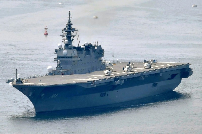 This May, 2017, photo shows Japanese Maritime Self-Defense Forceu2019s helicopter carrier Izumo. (Kyodo News via AP)