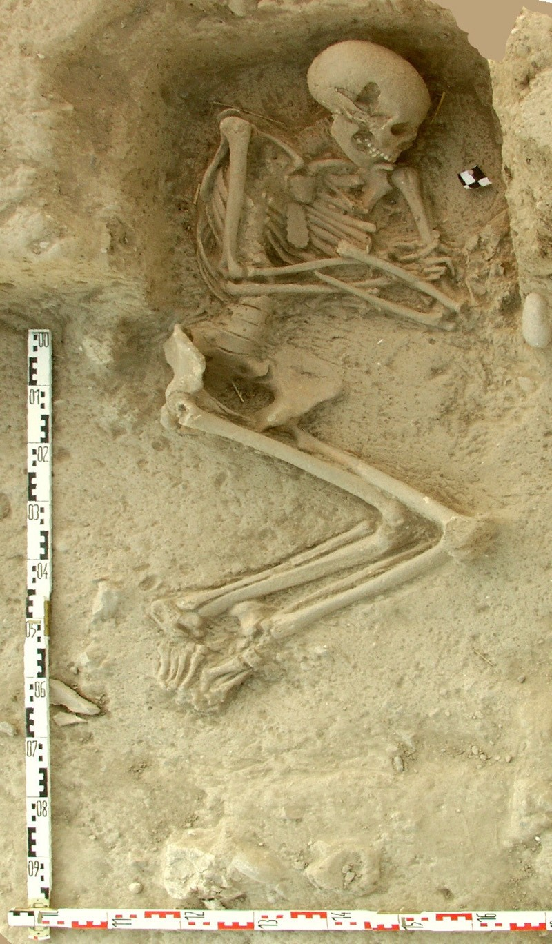 This undated picture provided by the Paliambela Excavation Project Archive, shows a human burial from the archaeological site of Paliambela in northern Greece. (AP Photo)