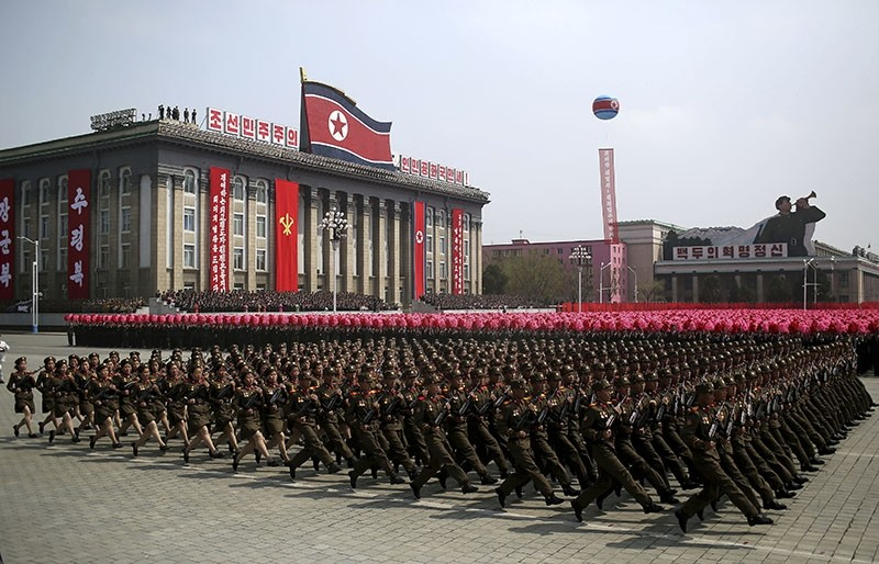 In this April 15, 2017, file photo, soldiers march across Kim Il Sung Square during a military parade in Pyongyang, North Korea. (AP Photo)