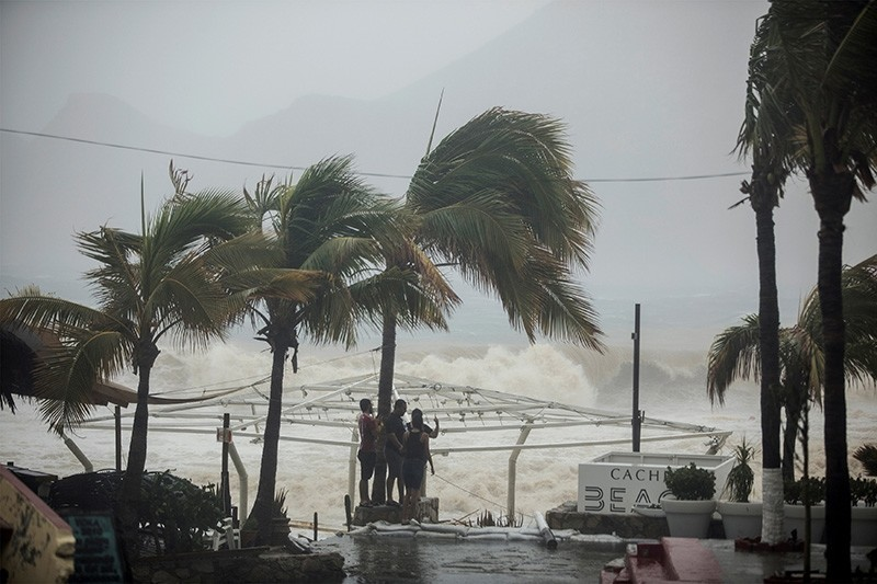 People stand next to swaying palm trees following the passing of Tropical Storm Lidia in Los Cabos, Mexico, Aug. 31, 2017. (Reuters Photo)