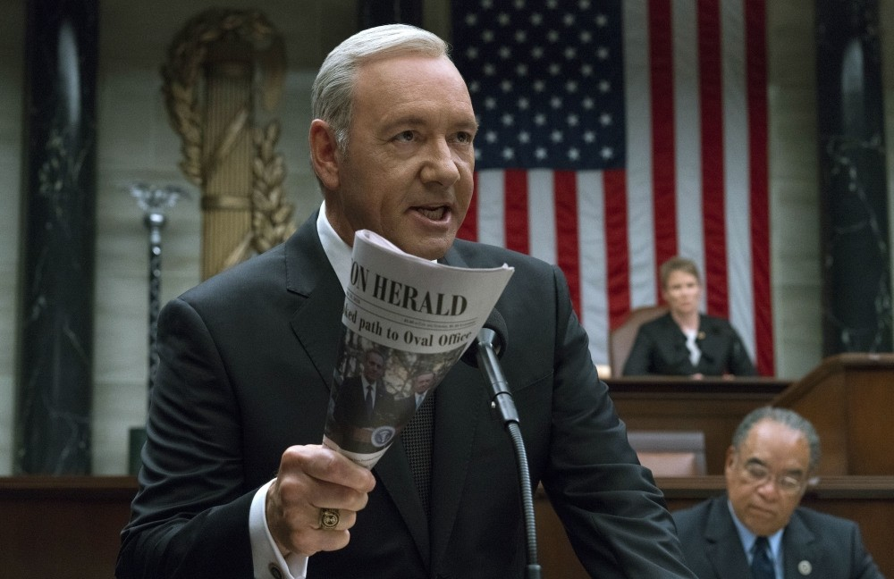 This image released by Netflix shows Kevin Spacey in a scene from ,House Of Cards., Netflix says it is suspending production of ,House of Cards, following harassment allegations against Spacey.