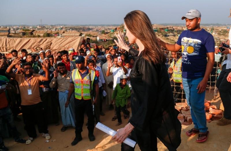 Actress Angelina Jolie visits a Rohingya refugee camp in Cox's Bazar, Bangladesh, Feb. 5, 2019. (AA Photo)