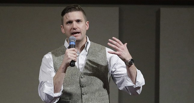 In this Dec. 6, 2016, file photo, Richard Spencer, who leads a movement that mixes racism, white nationalism and populism, speaks at the Texas A&M University campus in College Station, Texas. (AP Photo)