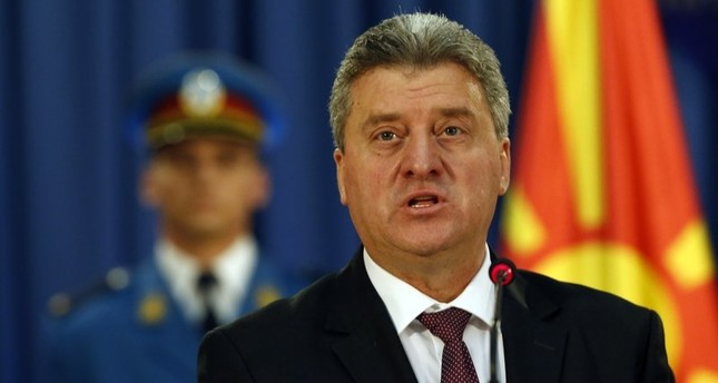 In this Oct. 28, 2016 file photo, Macedonia's President Gjorge Ivanov speaks during a media conference after talks with his Serbian counterpart Nikolic in Belgrade. (AP Photo)