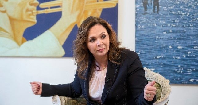 Russian lawyer Natalia Veselnitskaya listens during an interview with The Associated Press in Moscow, Russia.