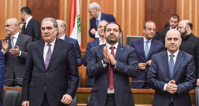 رئيس الوزراء اللبناني سعد الحريري خلال جلسة بالبرلمان لاختيار رئيساً لمجلس النواب اللبناني (EPA)