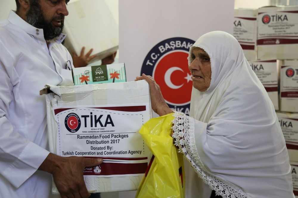 The photo shows Tu0130KA food aid packages delivered to those in need in East Jarusalem on April 22.