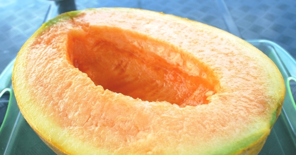 Half of a cut Yubari melon (Wikipedia photo)
