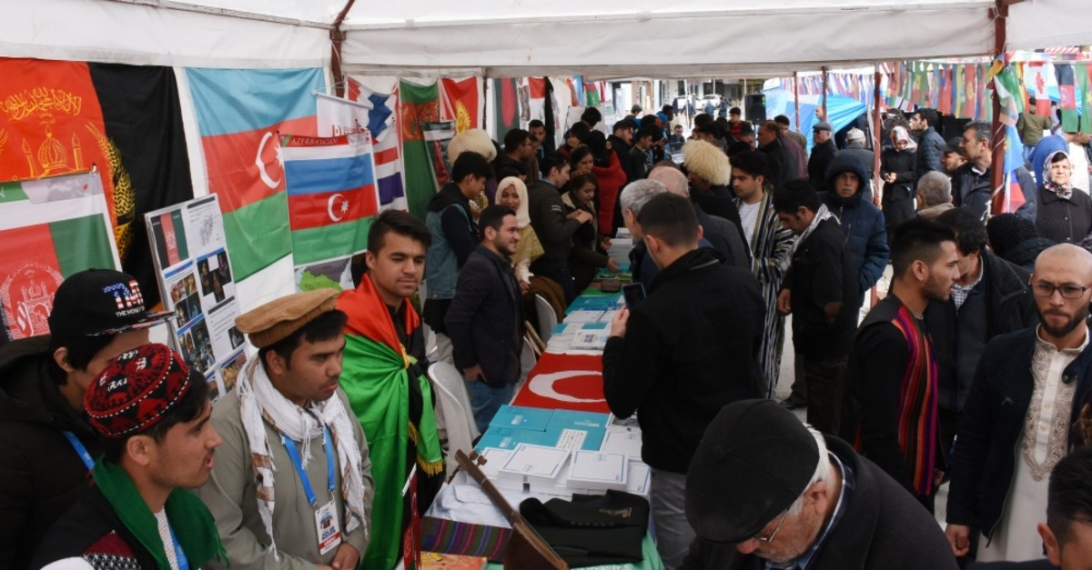 Students informed visitors about their countries and cultures at the gathering, March 17, 2019.
