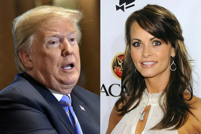This combination of file pictures created on July 20, 2018 shows (L-R) US President Donald Trump on July 18, 2018, in Washington, DC, and Playboy model Karen McDougal on February 6, 2010 in Miami Beach, Florida. (AFP Photo)