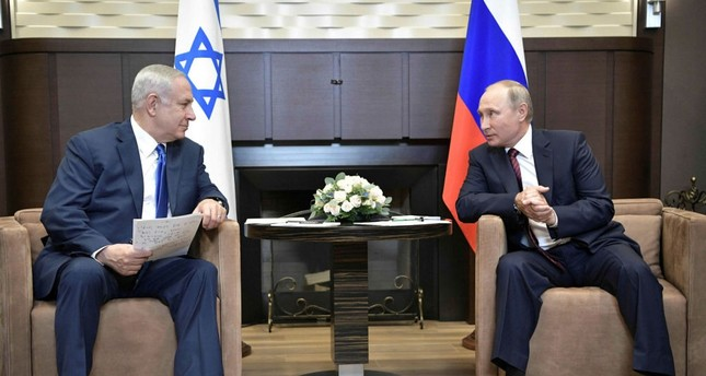 Israeli Prime Minister Benjamin Netanyahu meets with Russian President Vladimir Putin at the Bocharov Ruchei state residence in Sochi, Russia on Aug. 23.