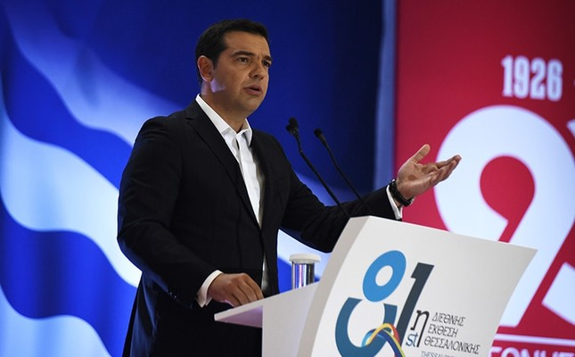 Greek Prime Minister Alexis Tsipras speaks at the 81th Thessaloniki International Trade Fair in the northern port city of Thessaloniki on Saturday, Sept. 10, 2016. (AP Photo)