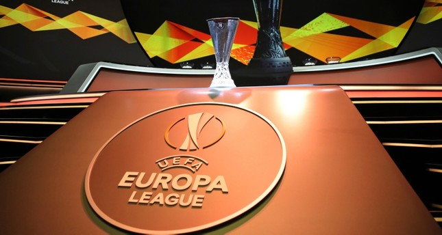 The Europa League trophy is put on display before the UEFA Europa League group stage draw at the Grimaldi Forum, in Monaco, Friday, Aug. 30, 2019. (AP Photo)