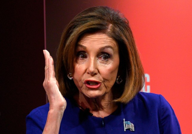 Nancy Pelosi speaks during an event at the Atlantic Festival in Washington, DC on September 24, 2019. (AFP Photo)
