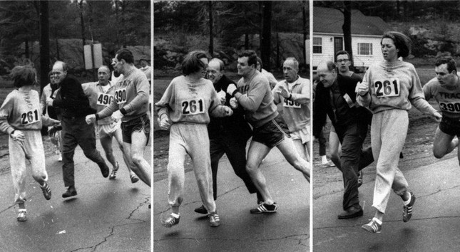 Switzer found herself about to be thrown out of the normally all-male Boston Marathon when a husky companion, Thomas Miller, threw a block that tossed a race official out of the running instead.