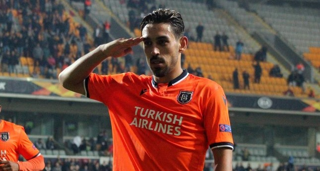 ?rfan Can Kahveci gave a military salute after his goal against Wolfsberger, in Istanbul, Oct. 24, 2019. (IHA Photo)