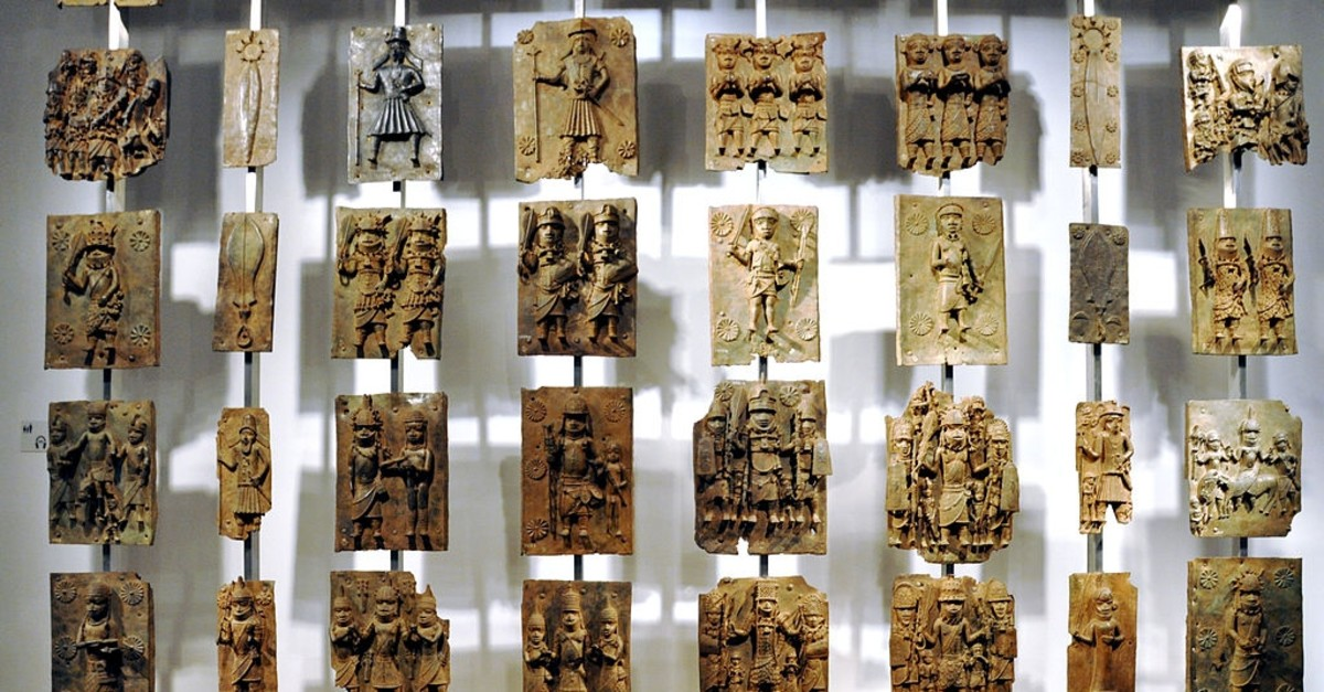 Cast brass plaques taken from Benin City, dating back to the 16th-17th centuries