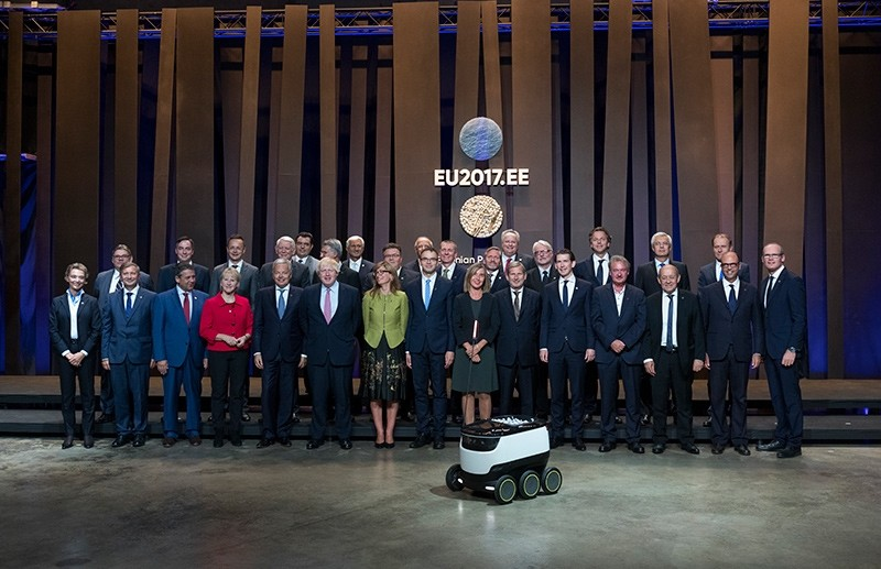 Participants of the informal meeting of the EU foreign ministers pose for a group photo in Tallinn, Estonia, on Thursday, Sept. 7, 2017 (AP Photo)