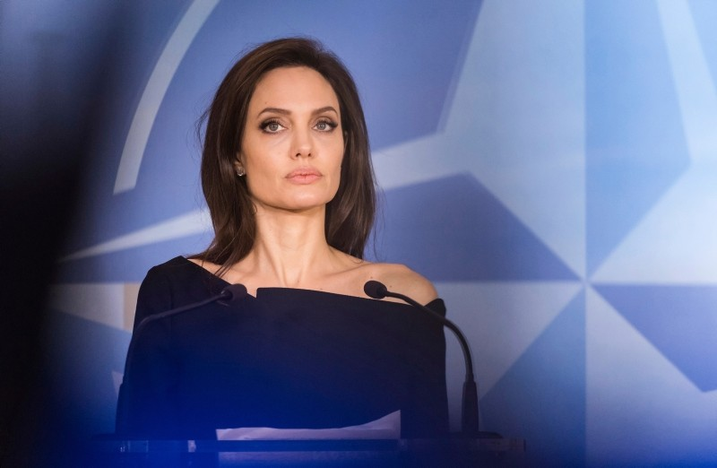 In this file photo dated Wednesday, Jan. 31, 2018, Special Envoy for the United Nations High Commissioner for Refugees Angelina Jolie addresses the media at NATO headquarters in Brussels. (AP Photo)