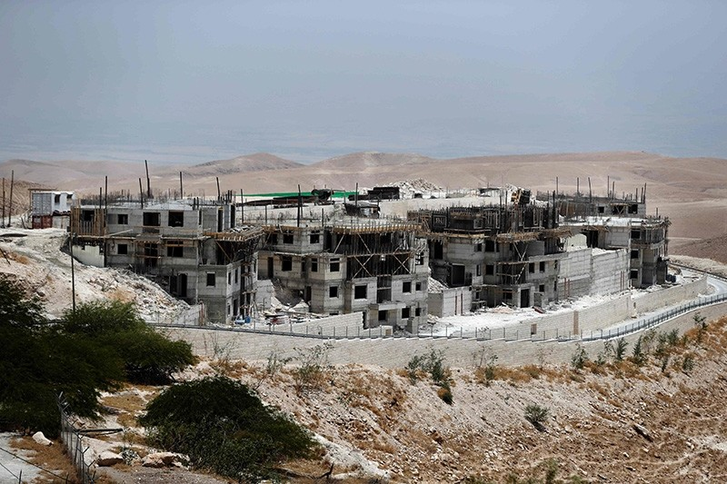 A picture taken on July 4, 2016, shows buildings under construction in the Israeli settlement of Maale Adumim, east of Jerusalem in the occupied West Bank. (AFP Photo)