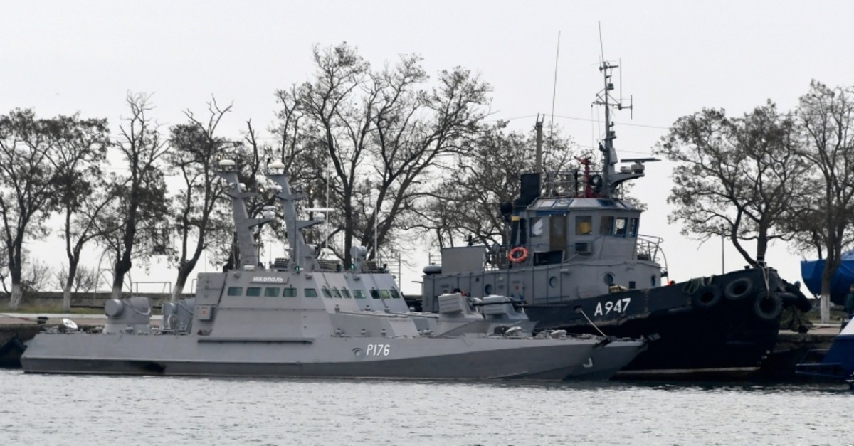 In this Monday, Nov. 26, 2018 file photo, three Ukrainian ships are docked near the Kerch after been seized on Sunday, in Kerch, Crimea. (AP Photo)