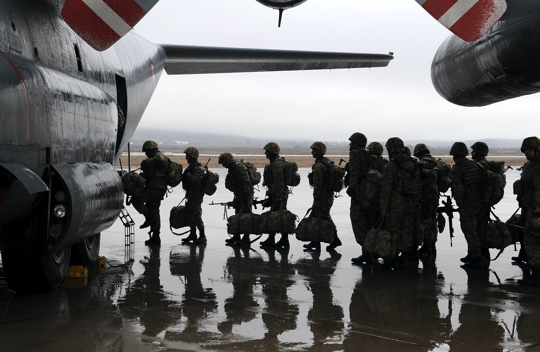 A Turkish Armed Forces Commando unit leaves from Bingu00f6l Airport in Turkey to join Operation Olive Branch in Afrin, northwestern Syria.