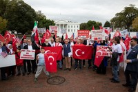 Supporters of Turkey's Syria op rally outside White House