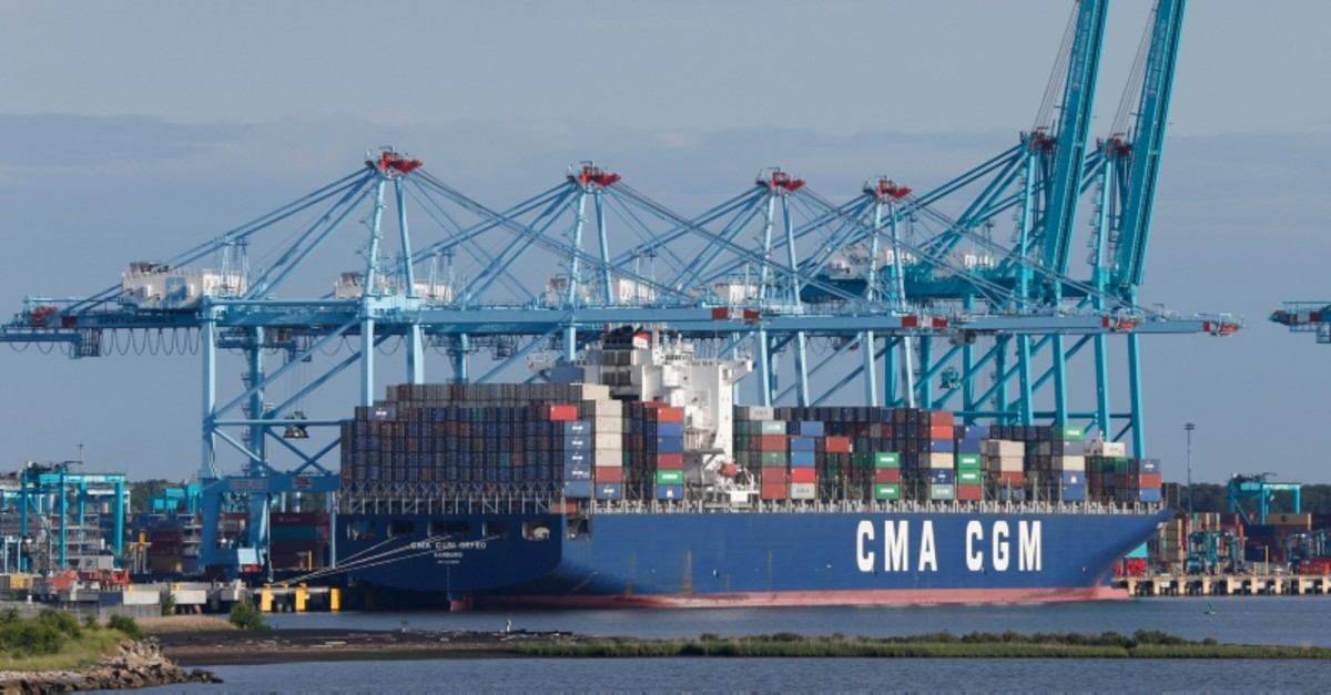 A container ship is unloaded at the Virginia International Gateway terminal in Norfolk, Va., Friday, May 10, 2019. (AP Photo)