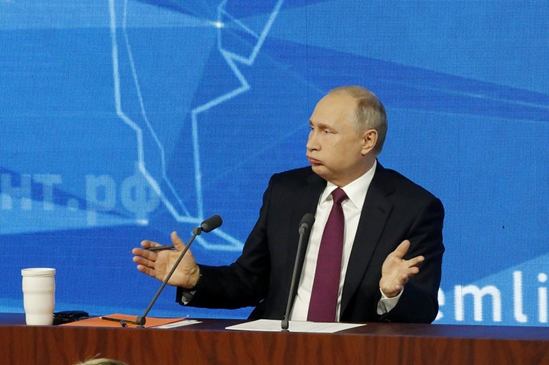 Russian President Vladimir Putin speaks during annual news conference in Moscow, Russia Dec. 20, 2018. (Reuters Photo)