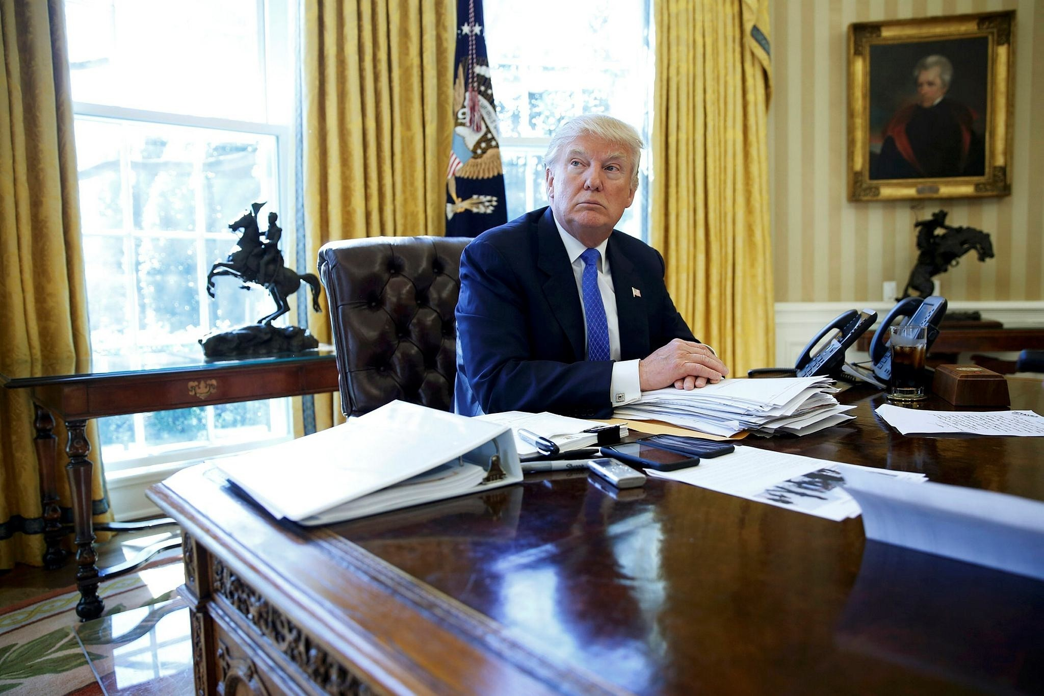 U.S. President Donald Trump is interviewed by Reuters in the Oval Office at the White House in Washington, U.S., Feb. 23.