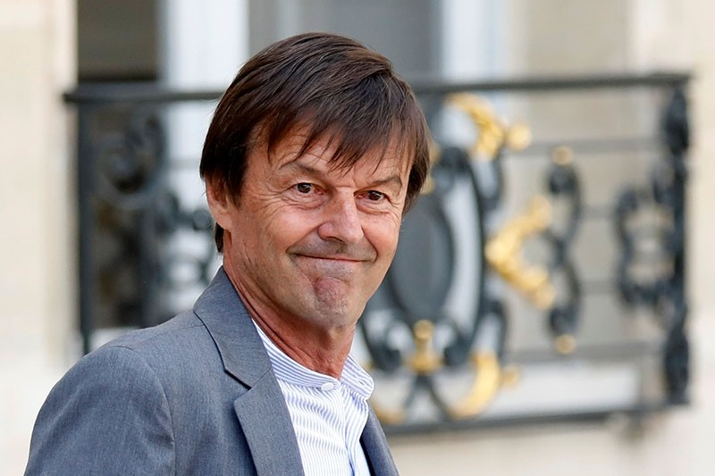 Nicolas Hulot, French Minister for the Ecological and Inclusive Transition, leaves after the first cabinet meeting after the summer break, at the Elysee Palace in Paris, France, Aug. 22, 2018. (Reuters Photo)