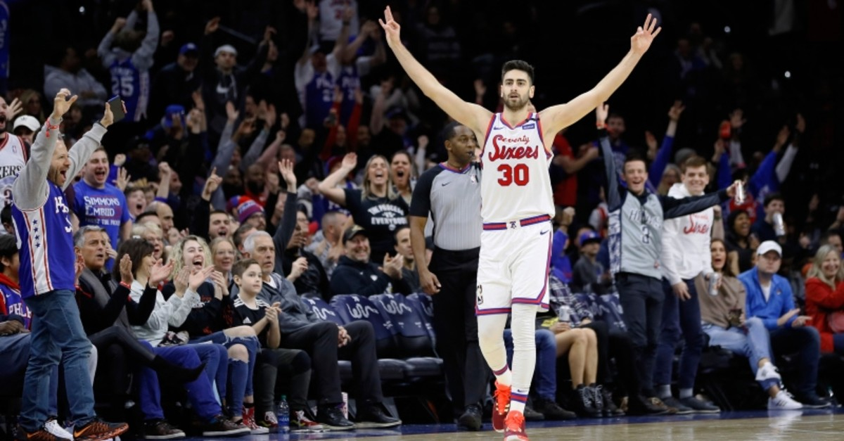 Philadelphia 76ers' Furkan Korkmaz celebrates after making a 3-pointer during the second half of the team's NBA basketball game against the Memphis Grizzlies, Friday, Feb. 7, 2020, in Philadelphia. (AP Photo)