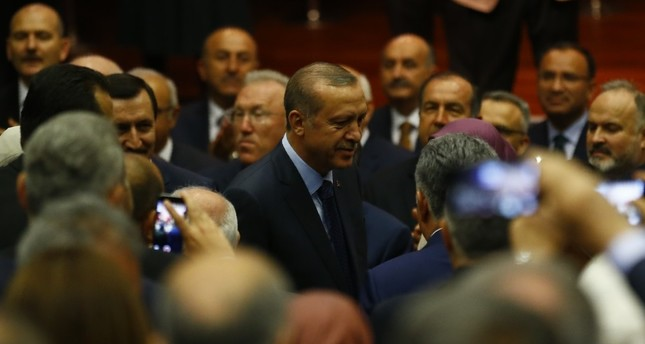 President Recep Tayyip Erdoğan arriving at the AK Party's headquarters in Ankara, May 2.