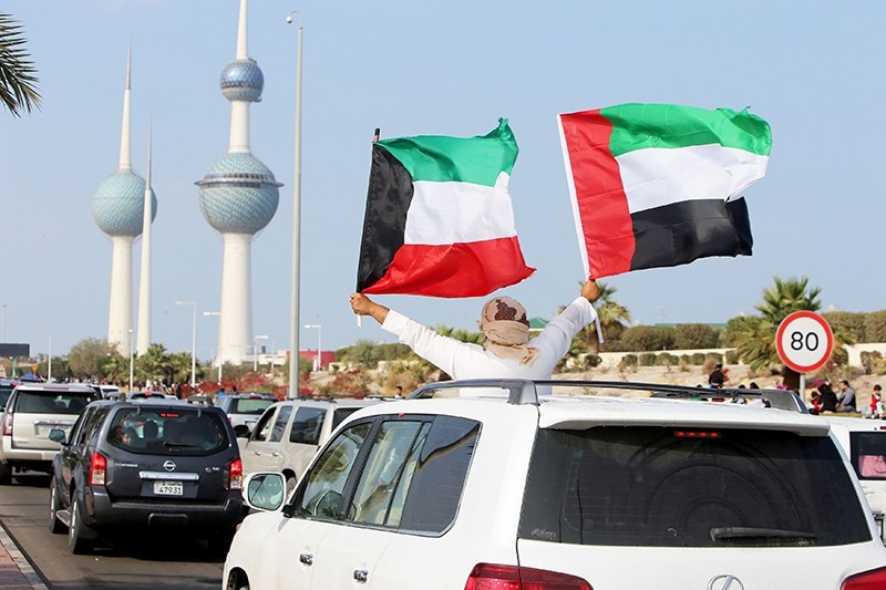 Kuwaitis celebrate the country's 57th Independence Day and the 27th anniversary of the end of the Gulf war with the liberation of Kuwait from Iraqi occupation, in Kuwait City on Feb. 25, 2018. (AFP Photo)
