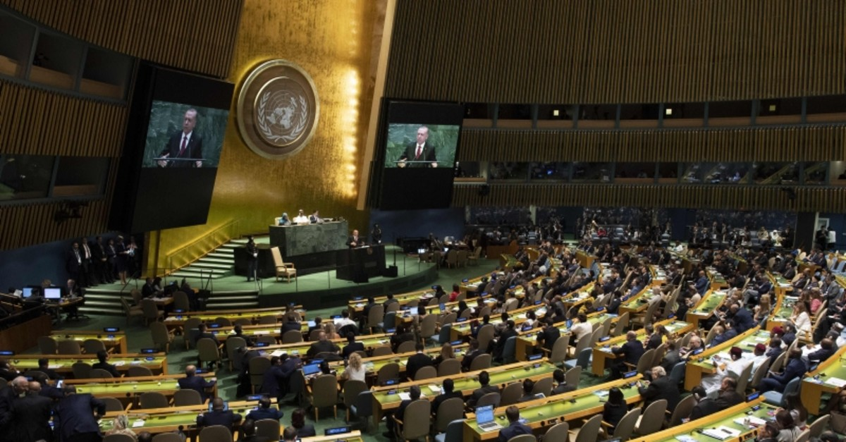 President Recep Tayyip Erdou011fan speaks during the 74th Session of the U.N. General Assembly at U.N. Headquarters, New York, Sept. 24, 2019.