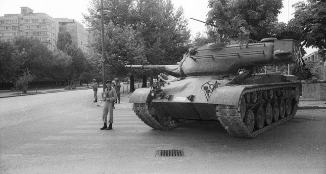 A tank in a square during the curfew that was declared right after the 1980 coup.