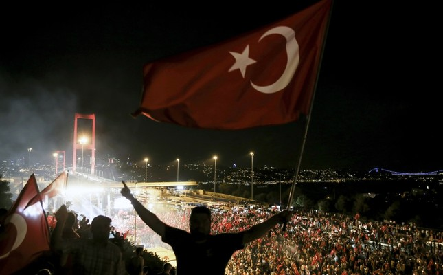 Thousands of people marched to the July 15 Martyrs Bridge – then the Bosporus Bridge – for democracy watches following the failed coup attempt last year.