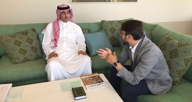 Minister of Culture and Information of Saudi Arabia, Awwad bin Saleh Al-Awwad (L) and Daily Sabah editor-in-chief Serdar Karagöz