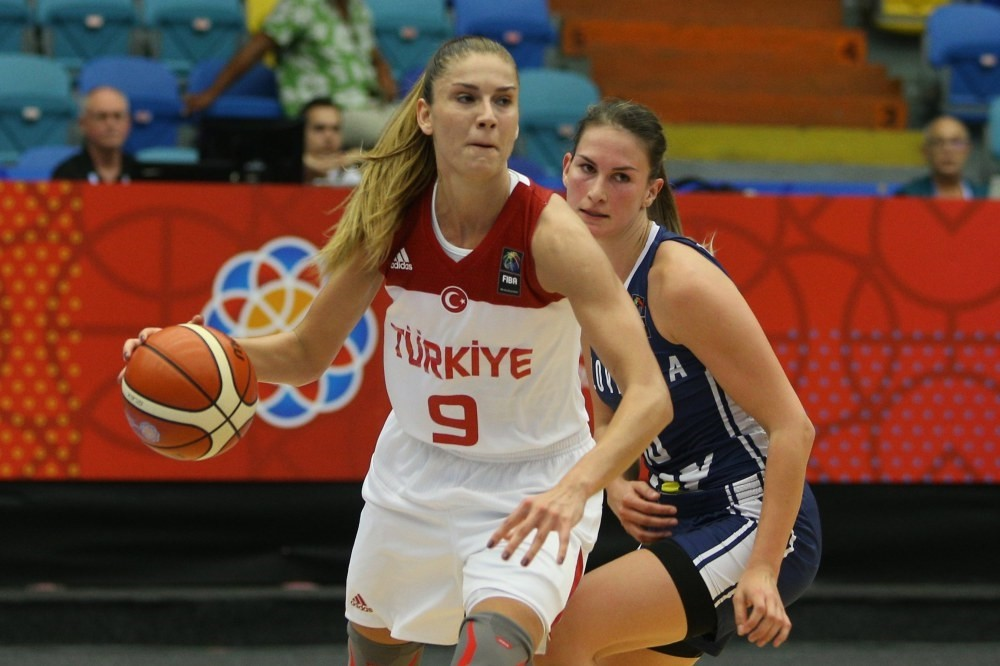 Bahar u00c7au011flar (R) of Turkey in action against Sabina Oroszova (L) of Slovakia during the group stage match of the EuroBasket Women 2017 in Hradec Kralove, Czech Republic.